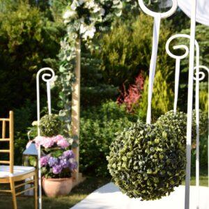 kula kwiatowa, kula dekoracyjna, sztuczne kwiaty, bukszpan