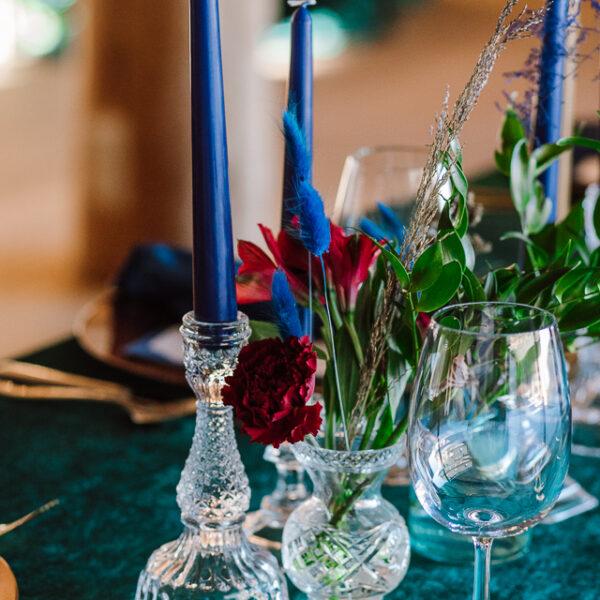 świeczniki kryształowe, kryształy, przezroczyste świeczniki
