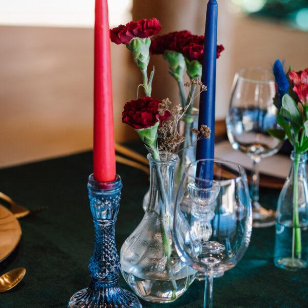 świecznik, krysztal, navy blu, granatowy świecznik