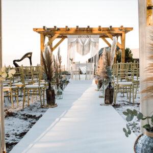 ślub w plenerze, ślub w stylu boho, ceremonia zaślubin, ślub plenerowy, ślub w parku, ślub w górach, ceremonia ślubna, dekoracje ślubne, wypozyczalnia dekoracji, makrama